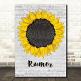 Lee Brice Rumor Grey Script Sunflower Song Lyric Art Print