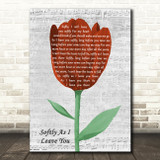 Matt Monro Softly As I Leave You Grey Script Watercolour Tulip Song Lyric Art Print