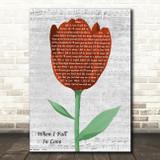 Celion Dion When I Fall In Love Grey Script Watercolour Tulip Song Lyric Art Print