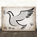 John Denver Fly Away Vintage Dove Bird Song Lyric Art Print