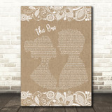 Kodaline The One Burlap & Lace Song Lyric Quote Print