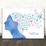 Coldplay Yellow Colourful Music Note Hair Decorative Wall Art Gift Song Lyric Print