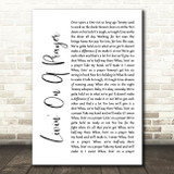Bon Jovi Livin' On A Prayer White Script Song Lyric Quote Print