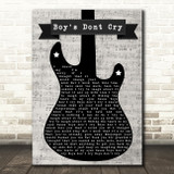The Cure Boys Don't Cry Electric Guitar Music Script Decorative Gift Song Lyric Print