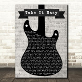 Eagles Take It Easy Electric Guitar Music Script Decorative Gift Song Lyric Print