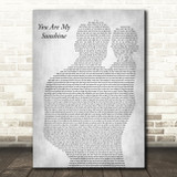 Johnny Cash You Are My Sunshine Father & Baby Grey Decorative Wall Art Gift Song Lyric Print
