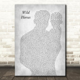 The Rolling Stones Wild Horses Father & Baby Grey Decorative Wall Art Gift Song Lyric Print