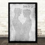 Lost Frequencies, Zonderling & Kelvin Jones Love To Go Gay Couple Two Men Dancing Grey Song Lyric Print