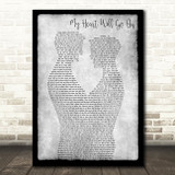 Celine Dion My Heart Will Go On Gay Couple Two Men Dancing Grey Wall Art Gift Song Lyric Print