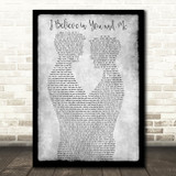 Whitney Houston I Believe in You and Me Gay Couple Two Men Dancing Grey Song Lyric Print