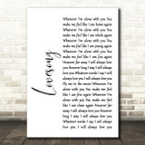 The Cure Lovesong White Script Song Lyric Quote Print