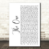 Kodaline The One White Script Song Lyric Quote Print