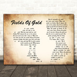 Sting Fields Of Gold Man Lady Couple Decorative Wall Art Gift Song Lyric Print