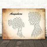 Evanescence Anywhere Man Lady Couple Decorative Wall Art Gift Song Lyric Print