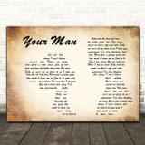 Josh Turner Your Man Man Lady Couple Decorative Wall Art Gift Song Lyric Print