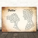 Alicia Keys Fallin' Man Lady Couple Decorative Wall Art Gift Song Lyric Print
