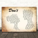 Elvis Presley Don't Man Lady Couple Decorative Wall Art Gift Song Lyric Print