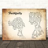 Journey Faithfully Man Lady Couple Decorative Wall Art Gift Song Lyric Print
