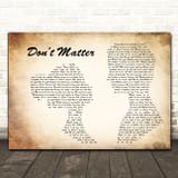 Akon Don't Matter Man Lady Couple Decorative Wall Art Gift Song Lyric Print