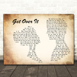 Bucie Get Over It Man Lady Couple Decorative Wall Art Gift Song Lyric Print