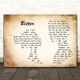 Tom Baxter Better Man Lady Couple Decorative Wall Art Gift Song Lyric Print