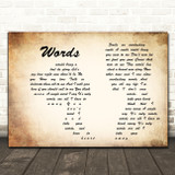 Bee Gees Words Man Lady Couple Decorative Wall Art Gift Song Lyric Print