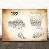 John Mayer XO Man Lady Couple Decorative Wall Art Gift Song Lyric Print
