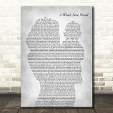 Peabo Bryson & Regina Belle A Whole New World Mother & Baby Grey Wall Art Gift Song Lyric Print