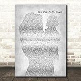 Phil Collins You'll Be In My Heart Mother & Baby Grey Decorative Gift Song Lyric Print