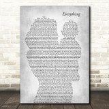 Michael Buble Everything Mother & Baby Grey Decorative Wall Art Gift Song Lyric Print