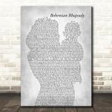 Queen Bohemian Rhapsody Mother & Baby Grey Decorative Wall Art Gift Song Lyric Print
