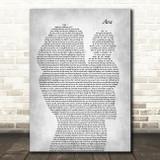 Pip Millett Ava Mother & Baby Grey Decorative Wall Art Gift Song Lyric Print
