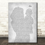 Anne-Marie Her Mother & Baby Grey Decorative Wall Art Gift Song Lyric Print