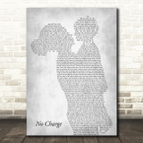 Tammy Wynette No Charge Mother & Child Grey Decorative Wall Art Gift Song Lyric Print