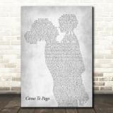Lenier Cómo Te Pago Mother & Child Grey Decorative Wall Art Gift Song Lyric Print