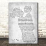 Drake God's Plan Mother & Child Grey Decorative Wall Art Gift Song Lyric Print