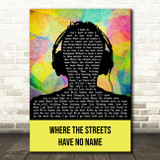 U2 Where The Streets Have No Name Multicolour Man Headphones Song Lyric Print