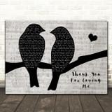 Bon Jovi Thank You For Loving Me Lovebirds Music Script Decorative Gift Song Lyric Print