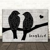 Eva Cassidy Songbird Lovebirds Music Script Decorative Wall Art Gift Song Lyric Print