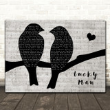 The Verve Lucky Man Lovebirds Music Script Decorative Wall Art Gift Song Lyric Print
