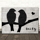 Shinedown Unity Lovebirds Music Script Decorative Wall Art Gift Song Lyric Print