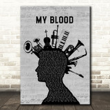 Twenty One Pilots My Blood Musical Instrument Mohawk Decorative Wall Art Gift Song Lyric Print