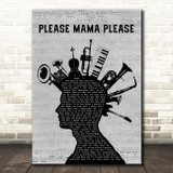 Go Cat Go Please Mama Please Musical Instrument Mohawk Decorative Gift Song Lyric Print