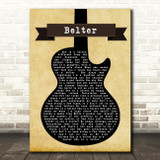 Gerry Cinnamon Belter Black Guitar Song Lyric Quote Print