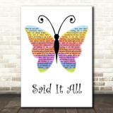 Take That Said It All Rainbow Butterfly Decorative Wall Art Gift Song Lyric Print