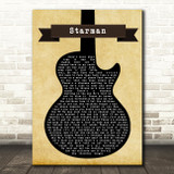 David Bowie Starman Black Guitar Song Lyric Quote Print