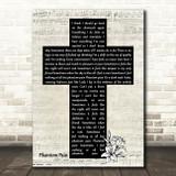 The Mission Phantom Pain Music Script Christian Memorial Cross Wall Art Song Lyric Print