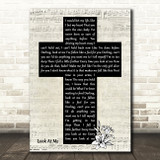 Carrie Underwood Look At Me Music Script Christian Memorial Cross Gift Song Lyric Print