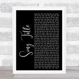 Any Song Lyrics Custom Black Script Wall Art Quote Personalised Lyrics Print