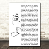 Any Song Lyrics Custom White Script Wall Art Quote Personalised Lyrics Print